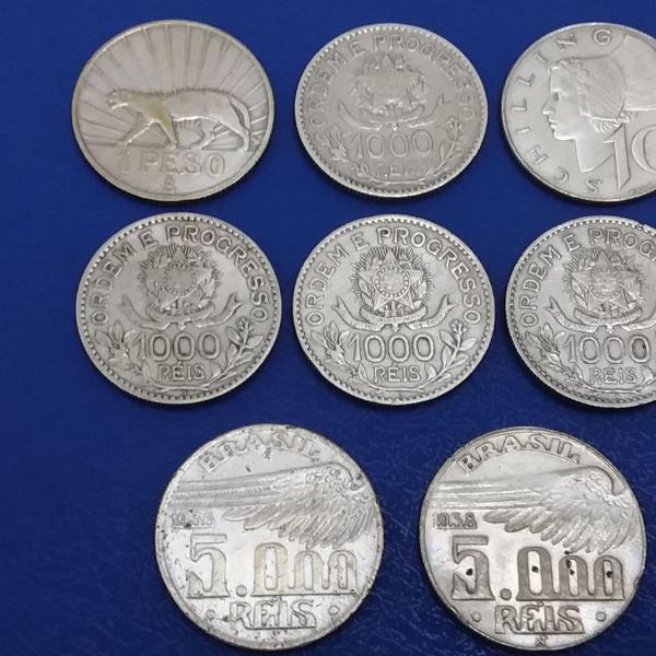 Moedas antigas de prata