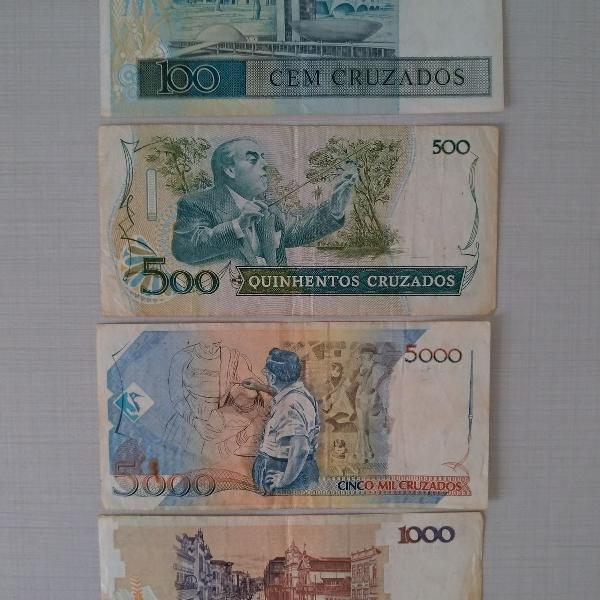 notas antigas e moedas comemorativas