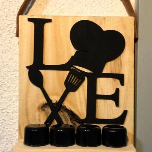 Porta temperos de madeira em mdf love