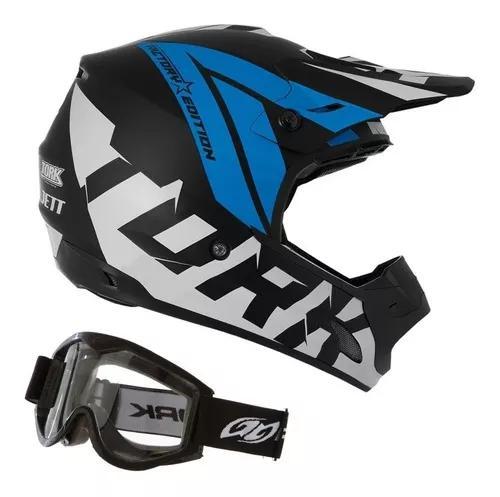Capacete + oculos motocross trilha off road - tam 56 58 60