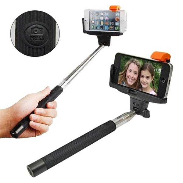 Bastão de selfie c/ controle bluetooth na própria haste