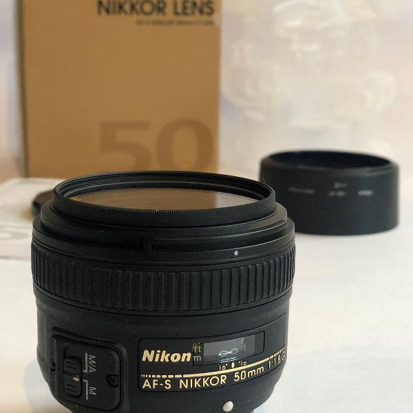 Lente nikon 50mm f/1.8g af-s autofoco nikkor com case,