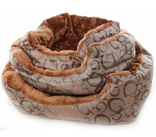 3 cama caminha pet cachorro gato aconchego pelúcia marrom