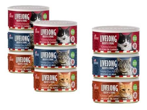 Alimento úmido para gatos lata livelong c/3 sabores 9x150g