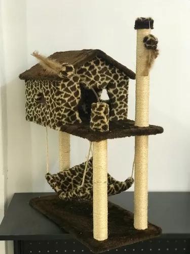 Arranhador casa com rede para gatos com brinquedos