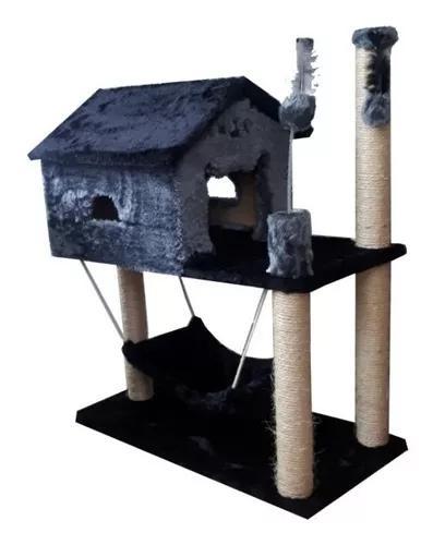 Arranhador gato casa casinha com rede cinza com preto
