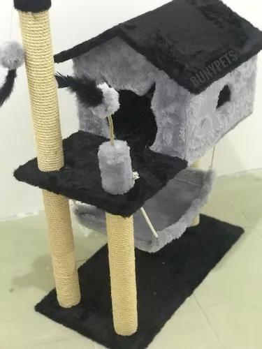 Arranhador para gatos casa com rede e brinquedos