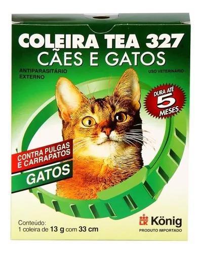 Coleira contra pulgas e carrapatos tea 327 gatos 13g c/ 33cm