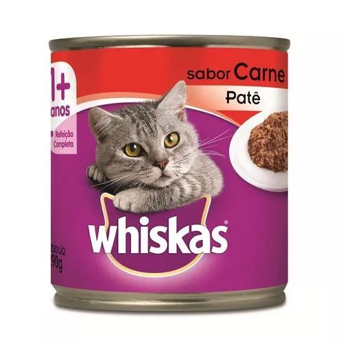 Ração úmida whiskas lata para gatos adultos sabor carne