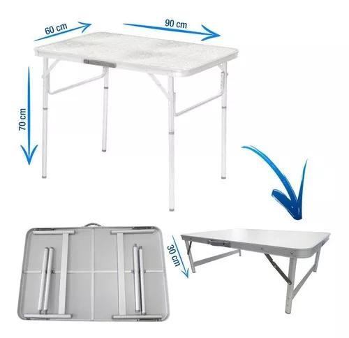 Mesa dobrável alumínio e mdf 90 x 60 cm vira maleta