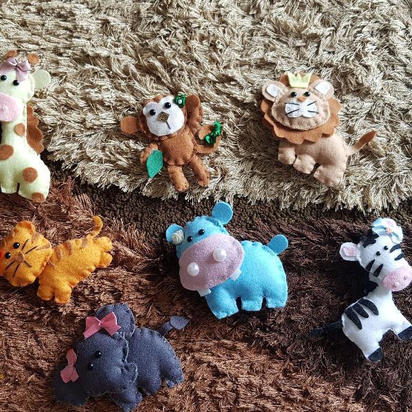 7 animais floresta feltro