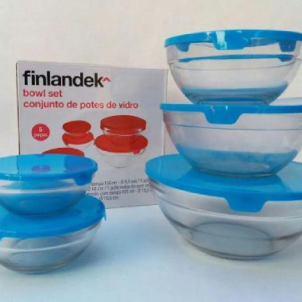 Conjunto de potes vidro 5 peças com tampa azul finlandek