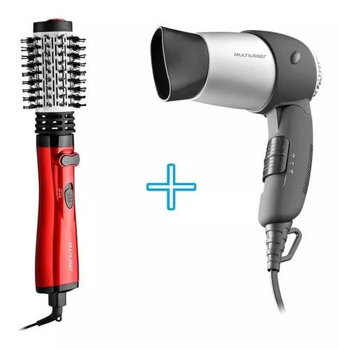 Kit para cabelo secador potente pequeno + escova rotativa