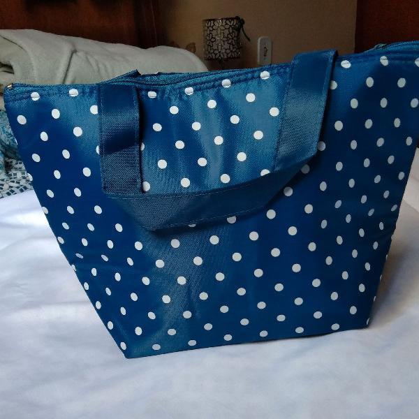 Bolsa termica azul com bolinhas para marmita