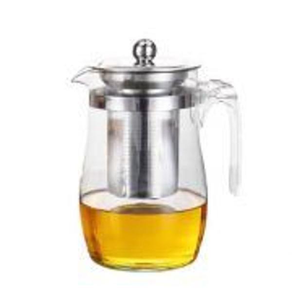 Chaleira com infusor de chá 900ml vidro inox bule chá