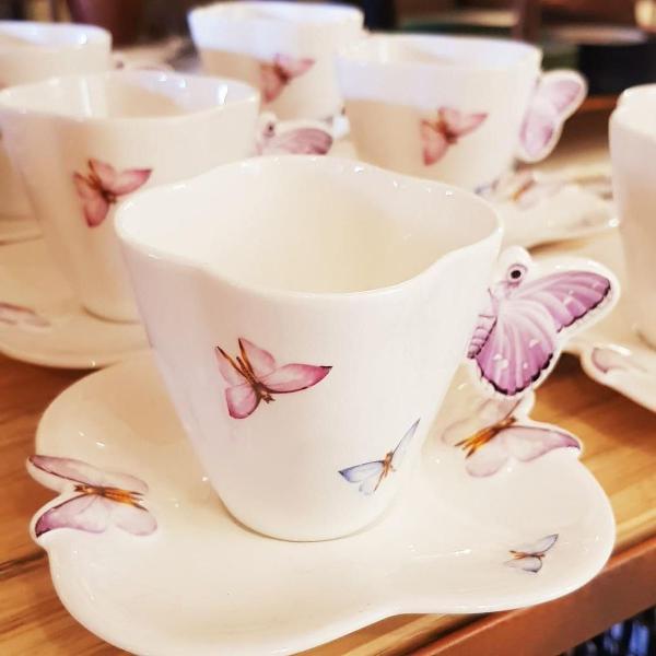 Conjunto 6 xícaras de chá porcelana (649)