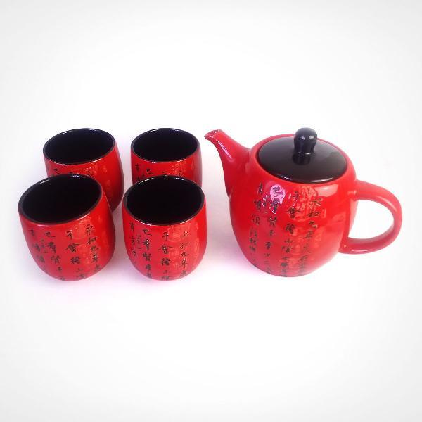 Conjunto bule de chá e copos porcelana oriental japonês