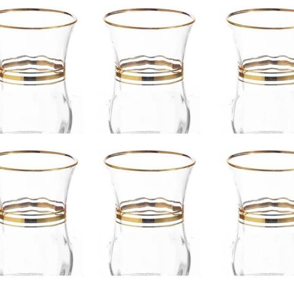 Copo chá da turquia borda dourada - conjunto com 6 unds