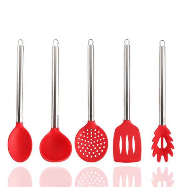 Kit colher silicone cozinha 5 peças vermelho cabo inox