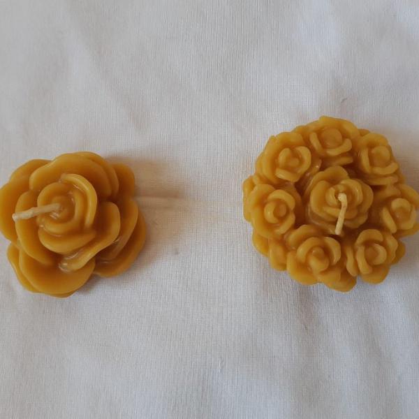 Kit de velas de cera de abelha buquê de flores e rosa