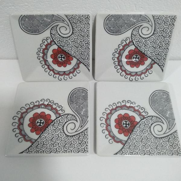 Pires de chá quadrados de porcelana - quartier boho oxford