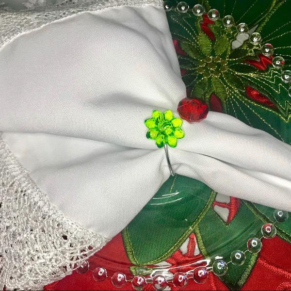 Porta guardanapo cristal verde e vermelho - 06 unidades