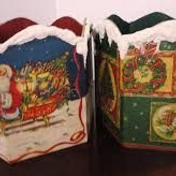 Porta panetone mdf decorado 2pçs
