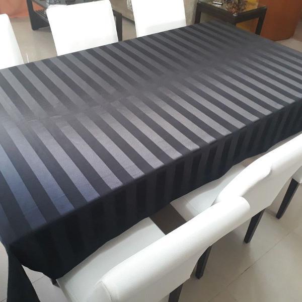 Toalha de mesa listras cor preta 8 cadeiras