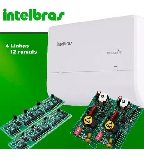Kit central pabx modulare + 4 l 12 rm intelbras s