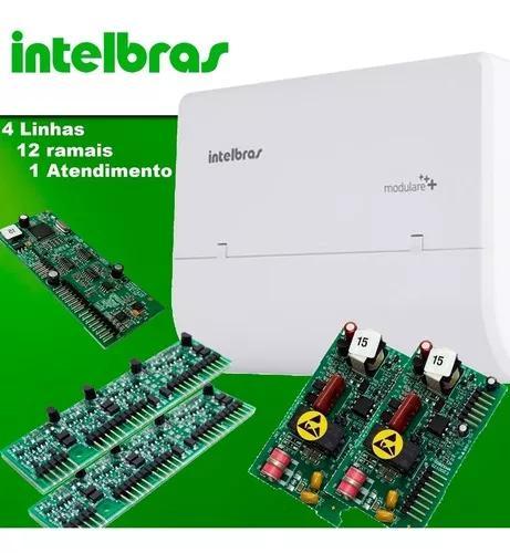 Kit central pabx modulare + 4l 12r intelbras + atendimento
