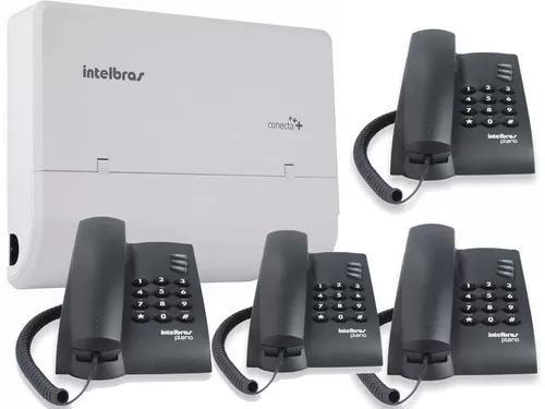 Pabx conecta 2linhas e 8 ramais inclusos 4 telefones+brinde