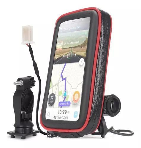 Suporte celular moto gps até 5,5 polegadas carregador usb
