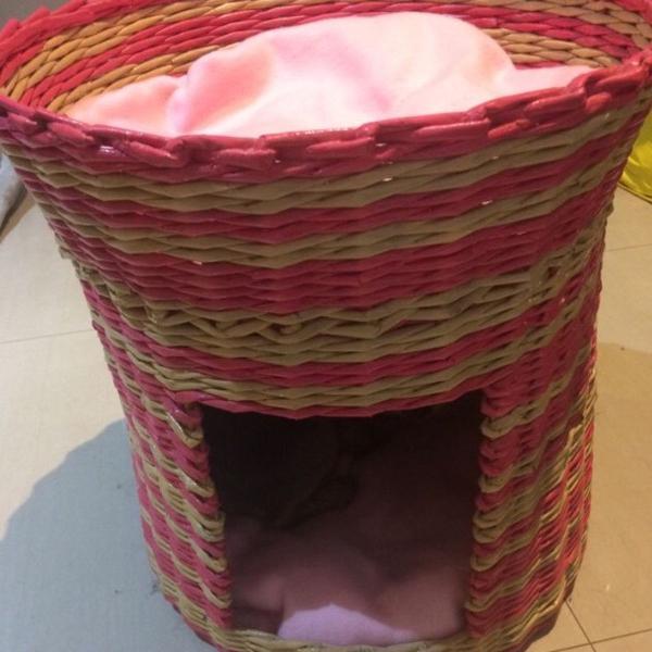 Toca toquinha casinha cachorro gato pet artesanal palha