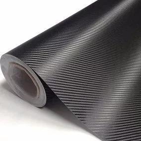 Adesivo fibra carbono envelopamento 1,40 x 0,5m preto opaco