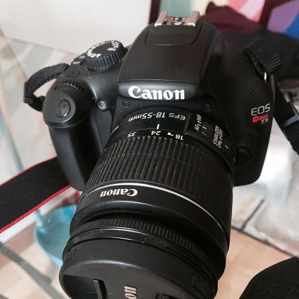 Camera canon eos t3 - kit com lente ef-s 18-55mm