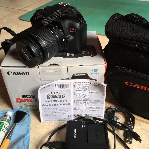 Câmera canon eos rebel t6 + acessórios