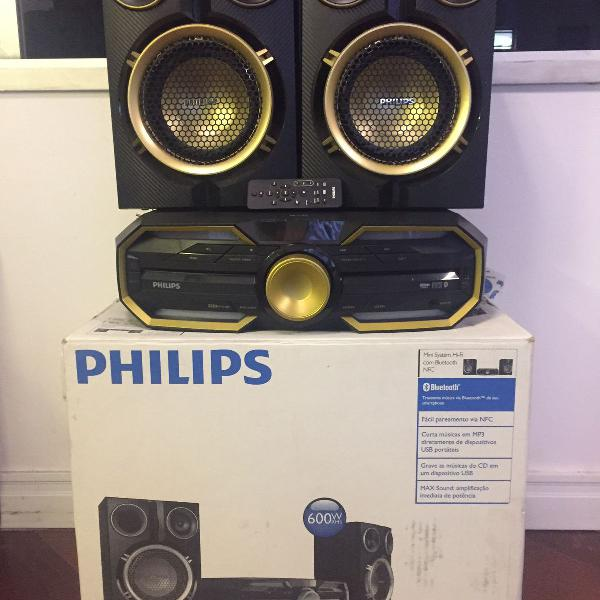 Mini system philips, 600w rms, bluetooth, nfc, usb direct -