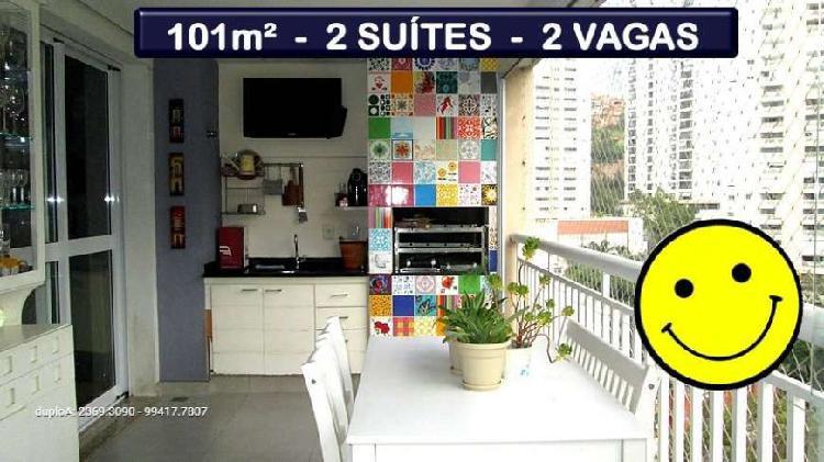 101m² - 2 suítes - terraço gourmet - 2 vagas