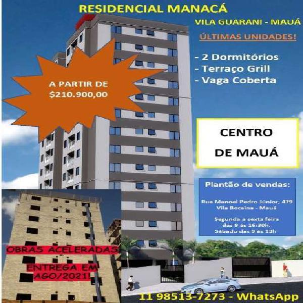 Apartamento 54m², 2 dormitórios, terraço grill, 1 vaga