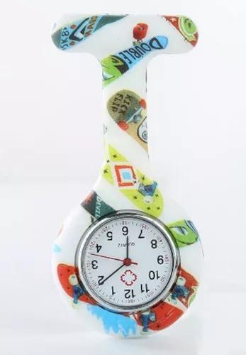 Kit 10 unid relógio lapela silicone nurse multi estampas