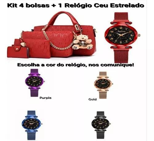 Kit lindas bolsas 4 peças +1 relógio céu estrelado +