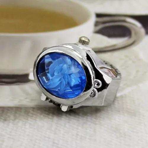 Relógio anel com enfeite de flor azul envio imediato