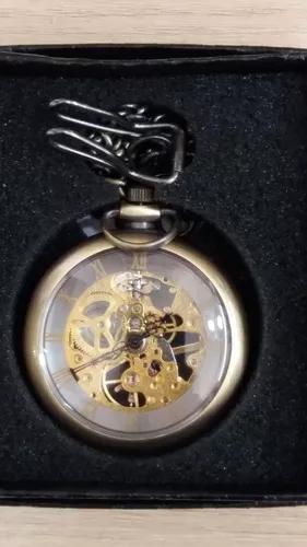 Relógio bolso à corda máquina engrenagens aparente