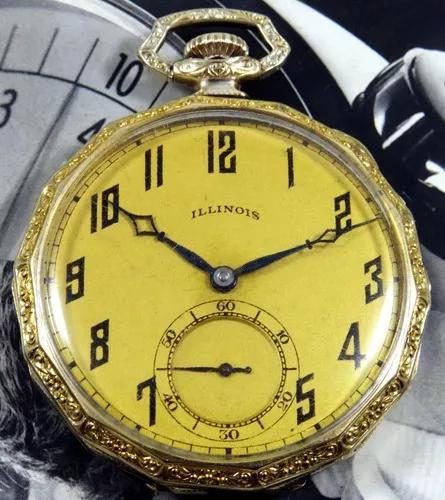 Relógio bolso illinois c/ máquina muito rara, veja