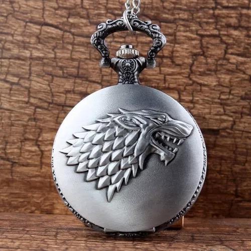 Relógio de bolso casa stark lobo prateado game of thrones