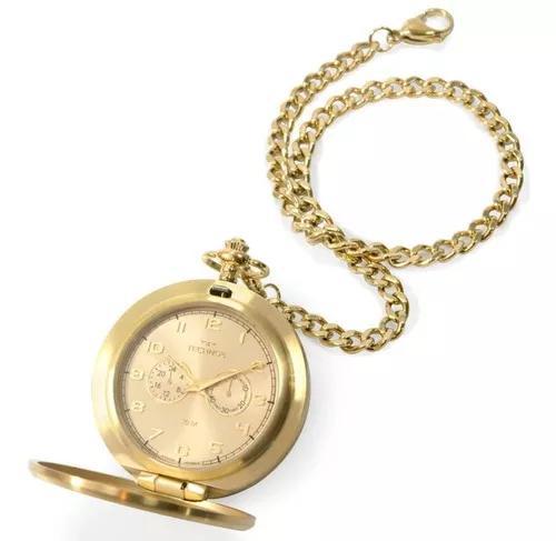 Relógio de bolso masculino technos vd77ac/4x 51mm dourado