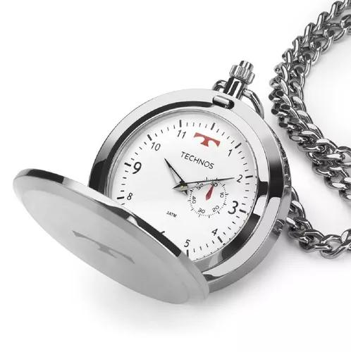 Relógio de bolso technos 1l45ba/1b aço inox prata 1l45ba