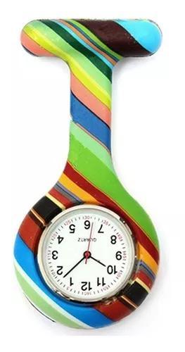 Relógio lapela silicone enfermeiras listras dark no brasil