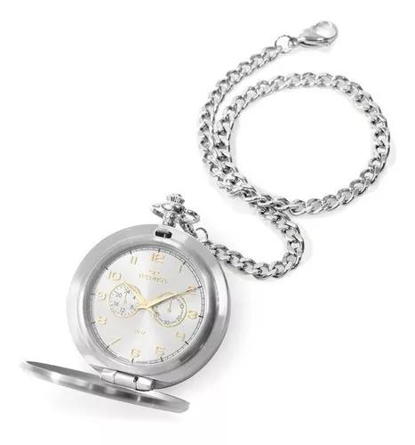 Relógio technos de bolso masculino vd77ad/1k aço prata