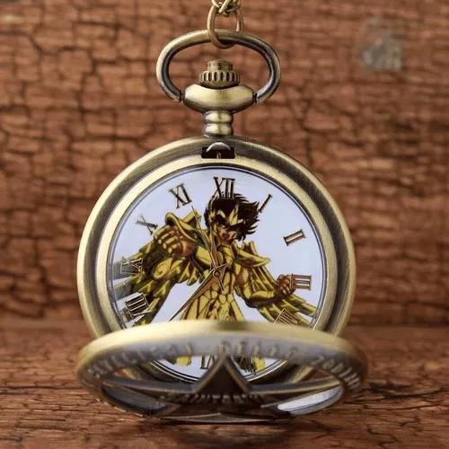 Relogio de bolso colar cavaleiros do zodiaco frete gratis